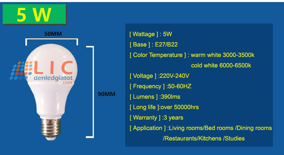 bong sieu sang 5w 9w 12w 7w showroom kitchen home led hanoi 11